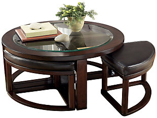 Marion Coffee Table with Nesting Stools, , large