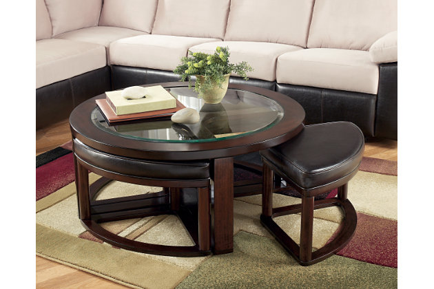 Marion Coffee Table With Nesting Stools Ashley Furniture HomeStore - Ashley furniture oval coffee table