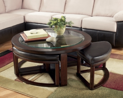 Picture of: Marion Coffee Table With Nesting Stools Ashley Furniture Homestore