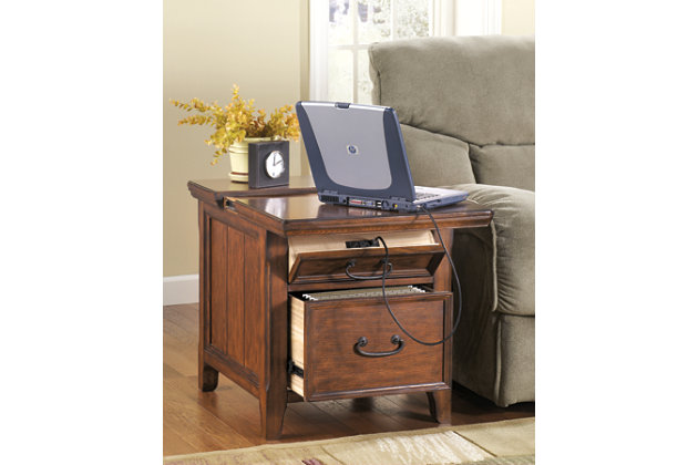 Woodboro Media End Table With Power Outlets Ashley