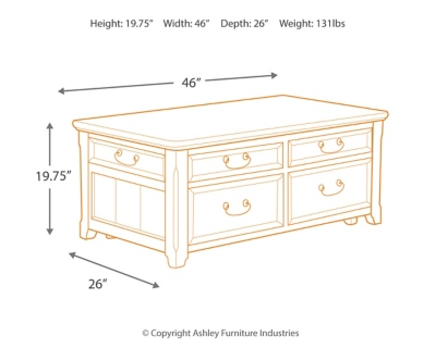 Woodboro Coffee Table with Lift Top Ashley Furniture HomeStore