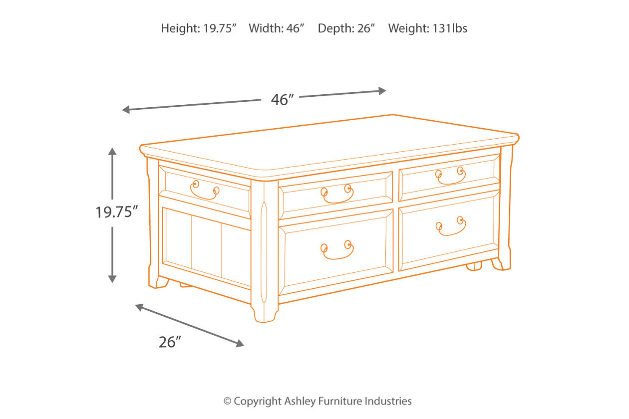 Woodboro Coffee Table With Lift Top Ashley Furniture HomeStore - Ashley woodboro coffee table