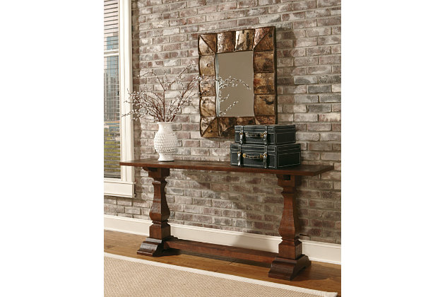 Dark Brown Antique Style Living Room Console Table
