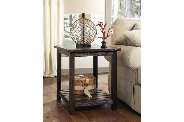 Rustic Dark Wood Casual Living Room End Table