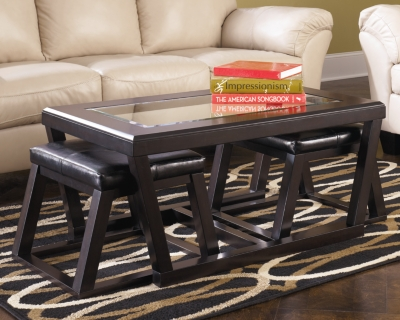 Ashley Kelton Coffee Table with Nesting Stools, Espresso