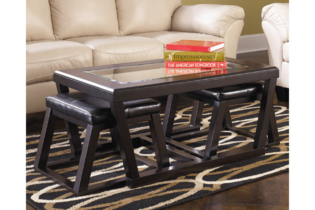 Kelton Coffee Table With Nesting Stools Large