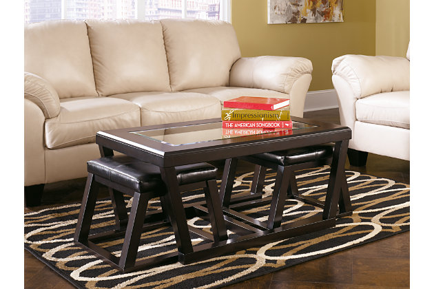 Dark Wood Coffee Table With Faux Leather Stools And Glass Top