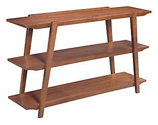Rich Walnut Veneer Console Table, , large