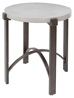 Small Round End Table, Concrete, large