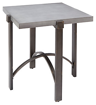 Mixed Finish Square End Table, Concrete, large