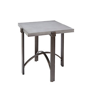 Mixed Finish Square End Table, Concrete, rollover