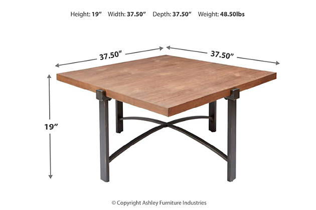 Mixed Finish Square Coffee Table, Natural, large