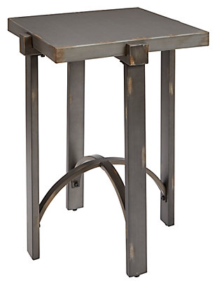 Mixed Finish Square End Table, Distressed Bronze Finish, large