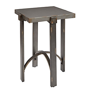 Mixed Finish Square End Table, Distressed Bronze Finish, rollover
