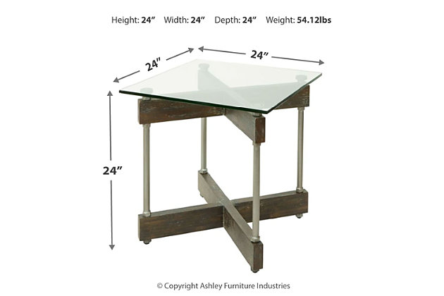 Glass Top End Table, , large