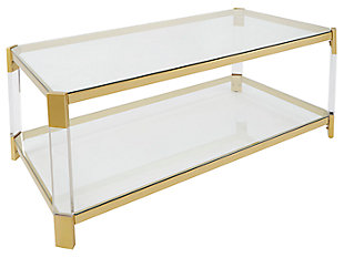 Golden Finish Coffee Table, , large