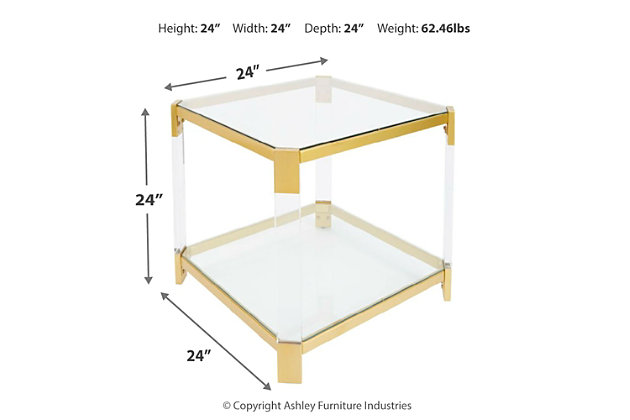 Golden Finish End Table, , large