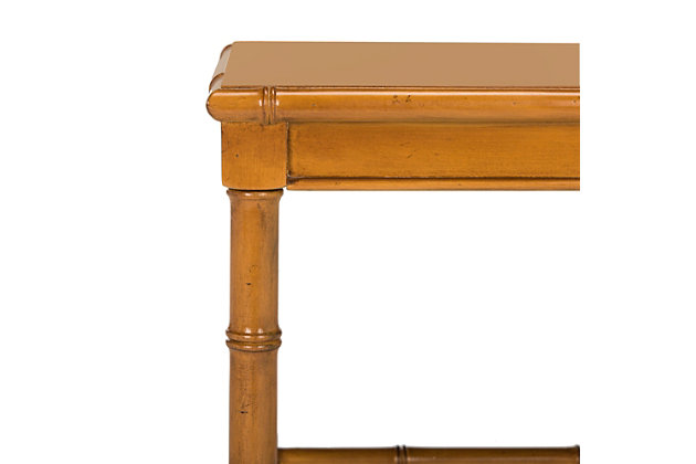 Bamboo Style Coastal End Table, Brown, large