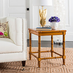 Bamboo Style Coastal End Table, Brown, rollover
