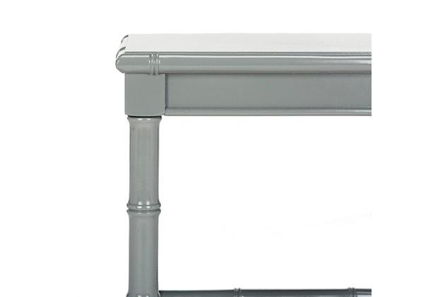 Bamboo Style Coastal End Table, Gray, large