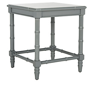 Bamboo Style Coastal End Table, Gray, large
