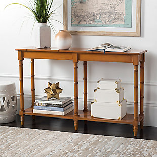 Bamboo Style Coastal Console Table, Brown, large