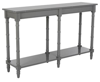 Bamboo Style Coastal Console Table, Gray, large