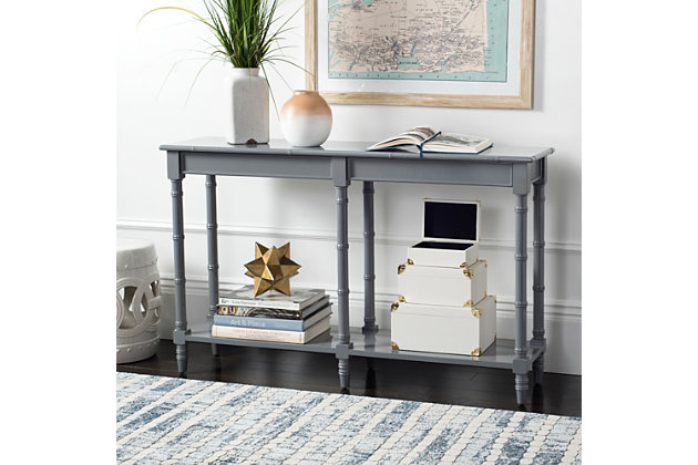 Bamboo Style Coastal Console Table, Gray, large