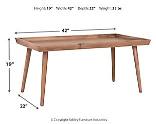 Tray Top Coffee Table, Brown, large