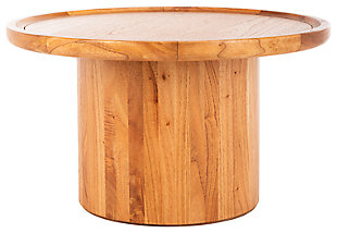 Round Pedestal Coffee Table, Brown, large