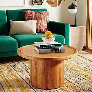 Round Pedestal Coffee Table, Brown, rollover