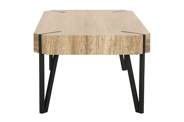 Conor Midcentury Wood Top Coffee Table, , large