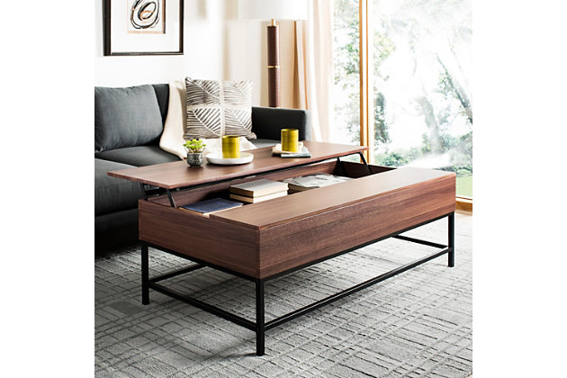 Dark Oak Finish Contemporary Lift-Top Coffee Table, , large