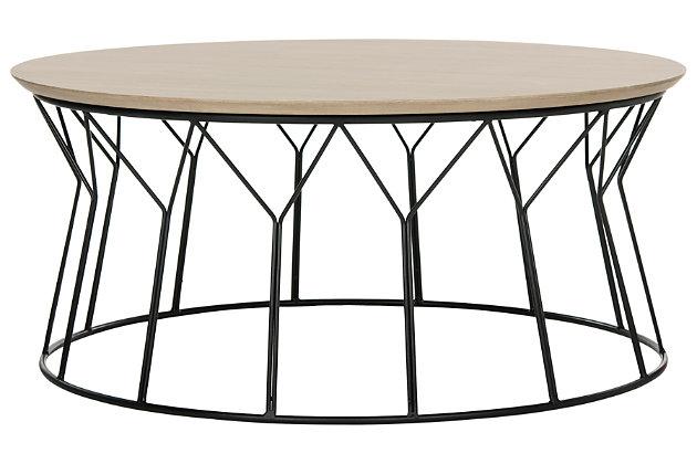 Iron Base Mid Century Wood Coffee Table, , large