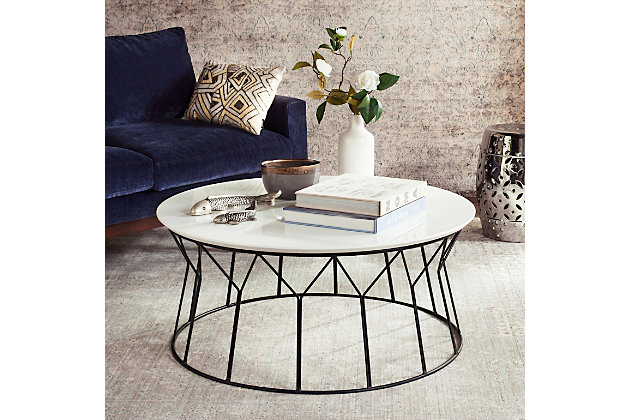 Iron Base Mid Century Lacquer Coffee Table, , large