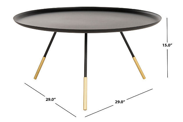 Round Tray Top Coffee Table With Metal Gold Cap, , large