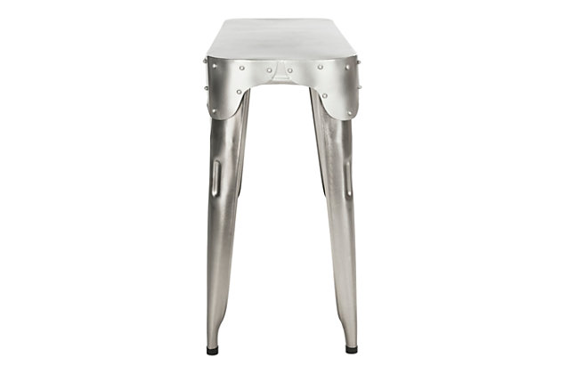 Iron Console Table, Silver, large
