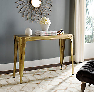 Iron Console Table, Gold, rollover