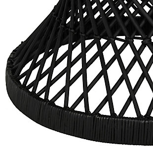 Rattan Small Bowed Accent Table, Black, large