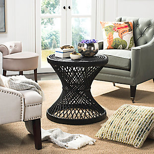 Rattan Small Bowed Accent Table, Black, rollover