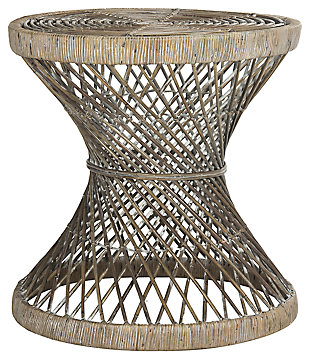Rattan Small Bowed Accent Table, White, large