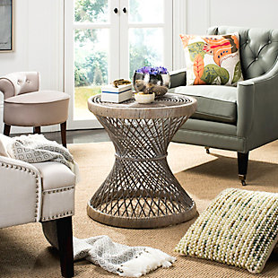 Rattan Small Bowed Accent Table, White, rollover