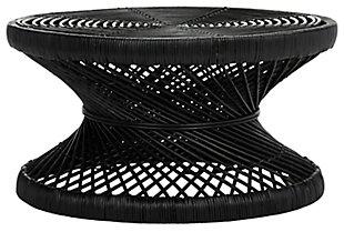 Rattan Large Bowed Coffee Table, Black, large