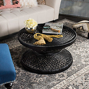 Rattan Large Bowed Coffee Table, Black, rollover