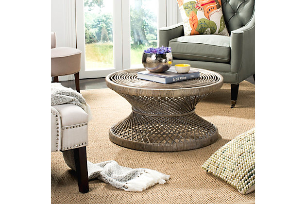 Rattan Large Bowed Coffee Table Ashley Furniture Home