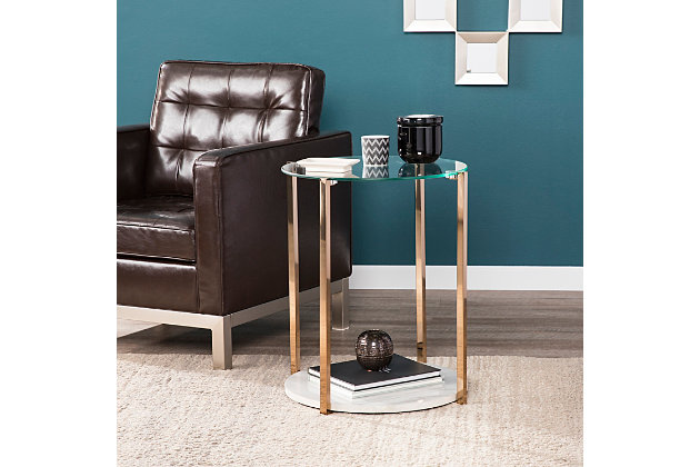 Glass End Table, , large