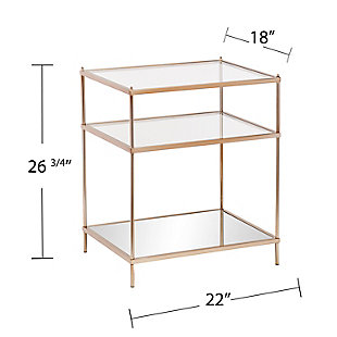 Gold Finished Glass End Table, , large