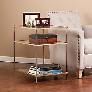 Gold Finished Glass End Table, , rollover