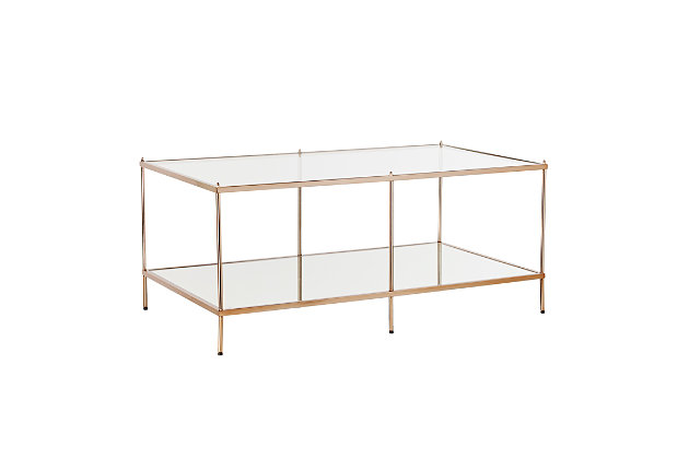 Gold Finished Glass Coffee Table, , large
