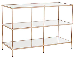 Gold Finished Glass Console Table, , large